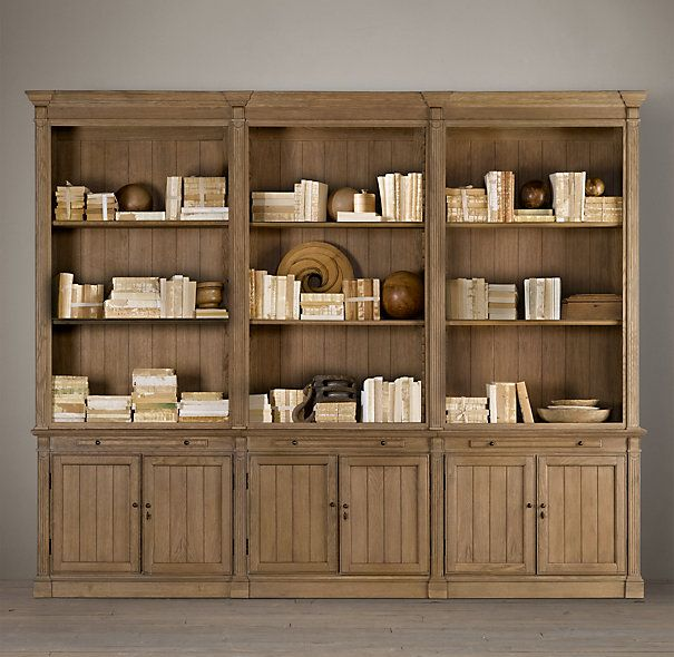 Restoration Hardware Library Triple Bookcase - my favorite look if  something like this would fit. - Restoration Hardware Bookshelves IDI Design