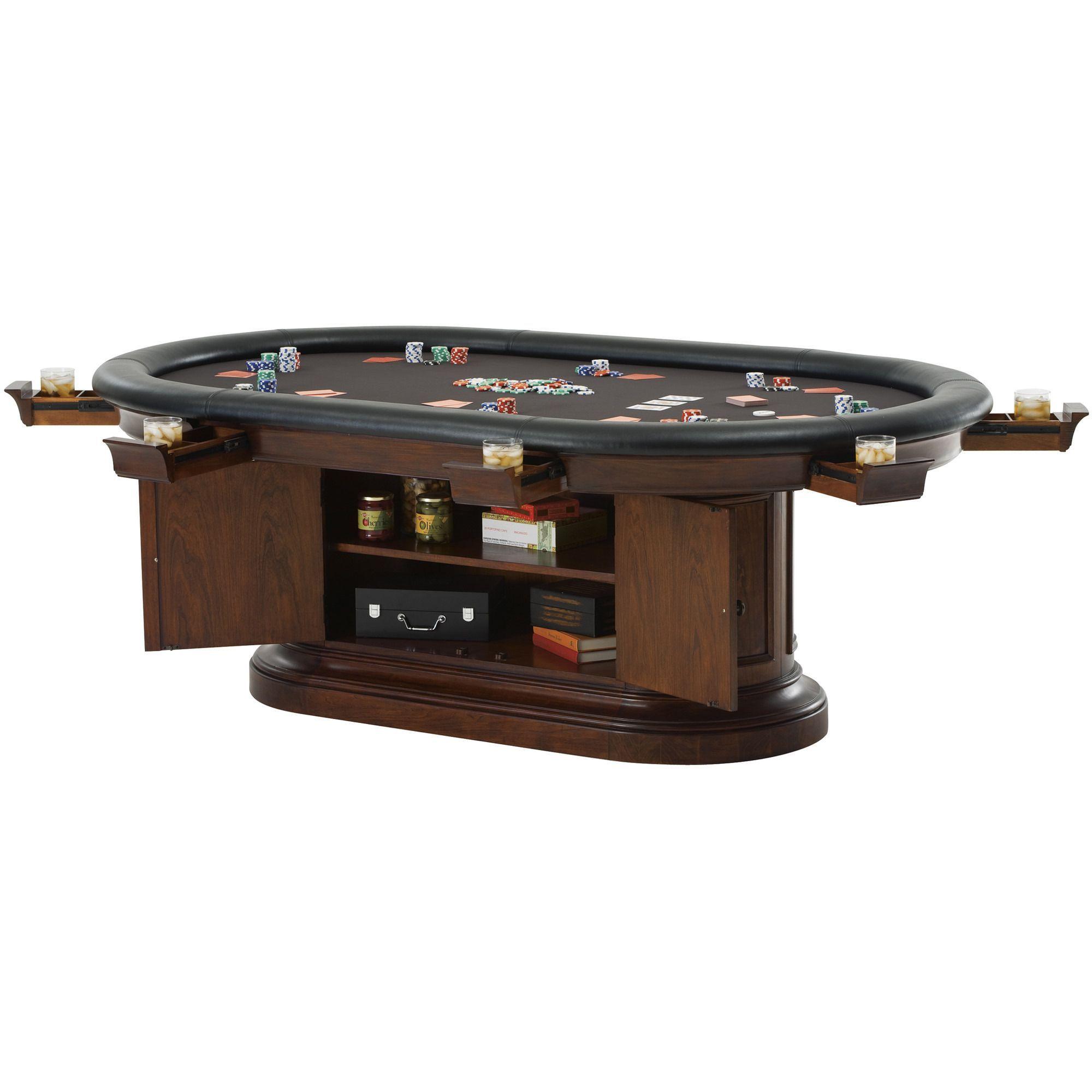 Bonavista Oval Poker Table By Howard Miller, In Rustic Cherry   Americana Poker  Tables