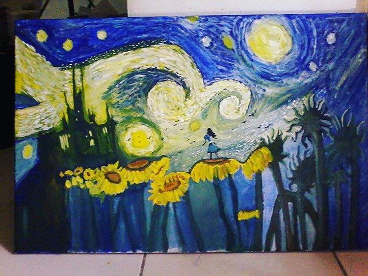 """Starry Night #painting #paint #picoftheday #starrynight #instagram #vincentvangogh #vangogh #art #arts #instaart #night #star #stars #alice…"""