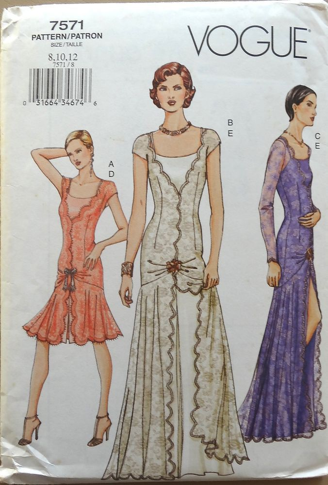 RARE Gorgeous VTG 1920\'s Style Flapper Dress Pattern Vogue 7571 Size ...
