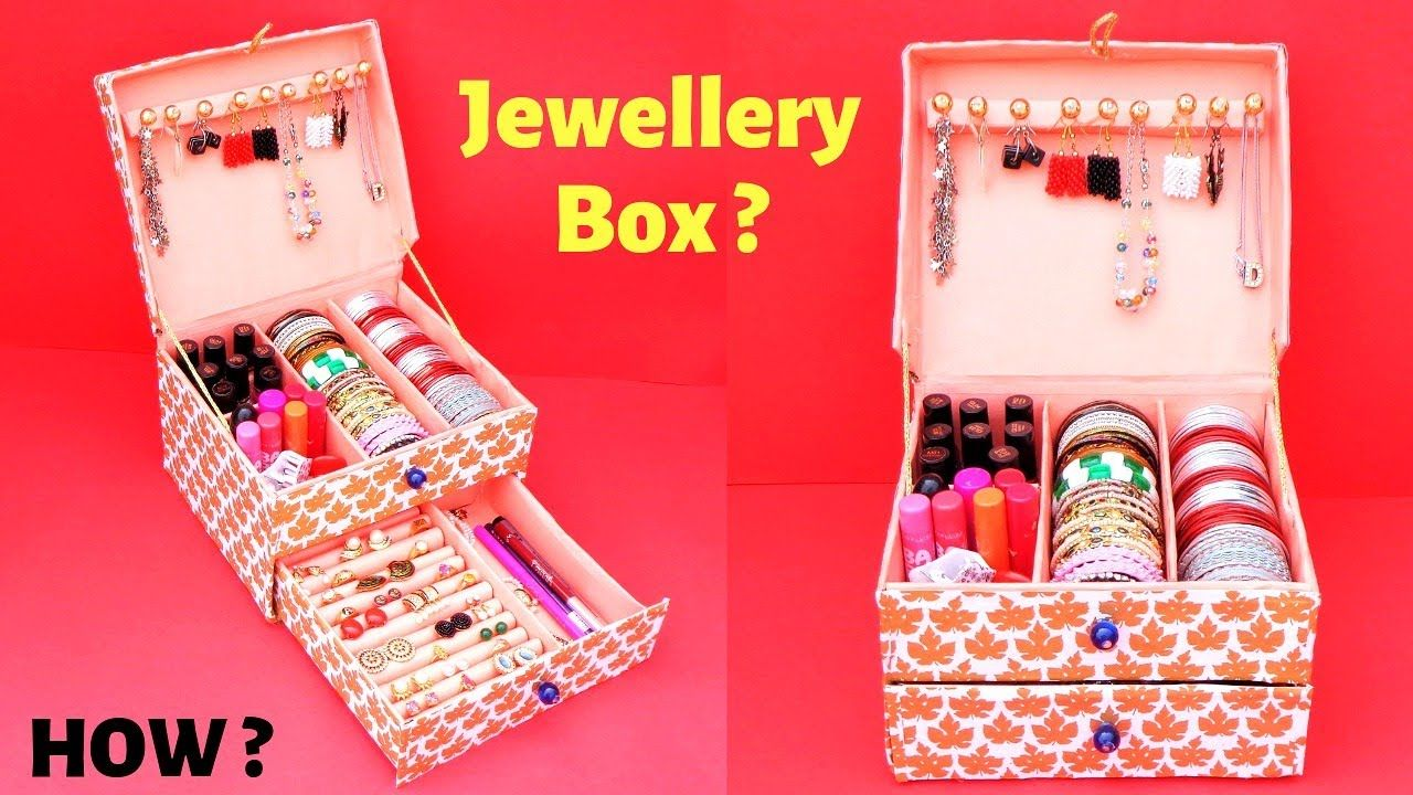 Diy How To Make Bangle Box At Home With Cardboard Box Best Out Of Waste Easy Jewellery Box Youtu Bangle Box Diy Jewellery Box Cardboard Jewelry Box Diy