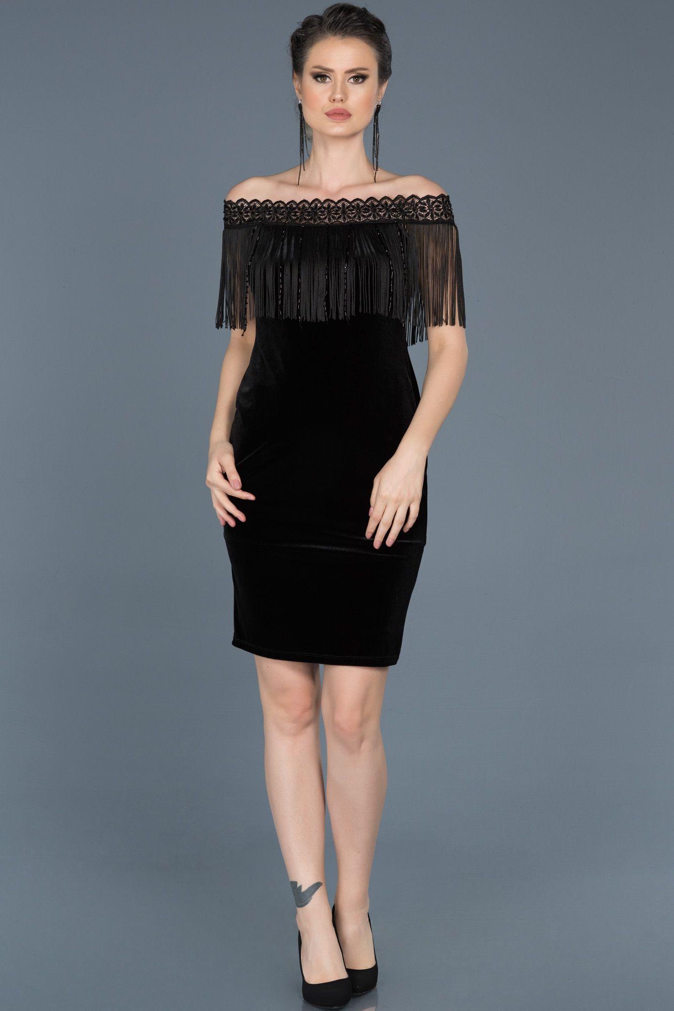 Siyah Puskullu Kayik Yaka Kadife Elbise Abk355 Elbise Elbiseler Kiyafet