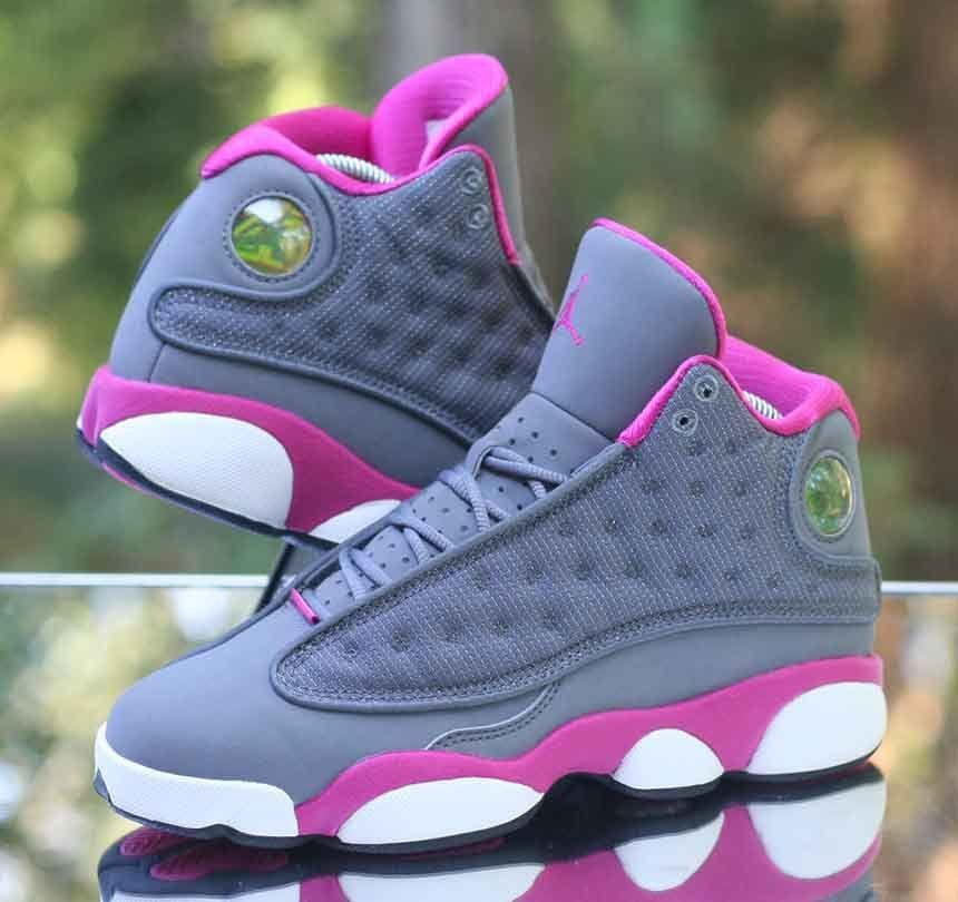 innovative design 566a2 03811 Nike Girl s Air Jordan 13 Retro GS Cool Grey Fusion Pink 439358-029 Size 4Y   Jordan  Athletic
