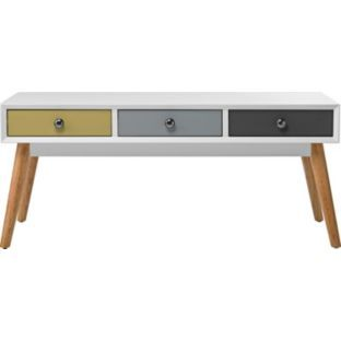 Retro Coffee Table With 3 Coloured Drawers Homebase