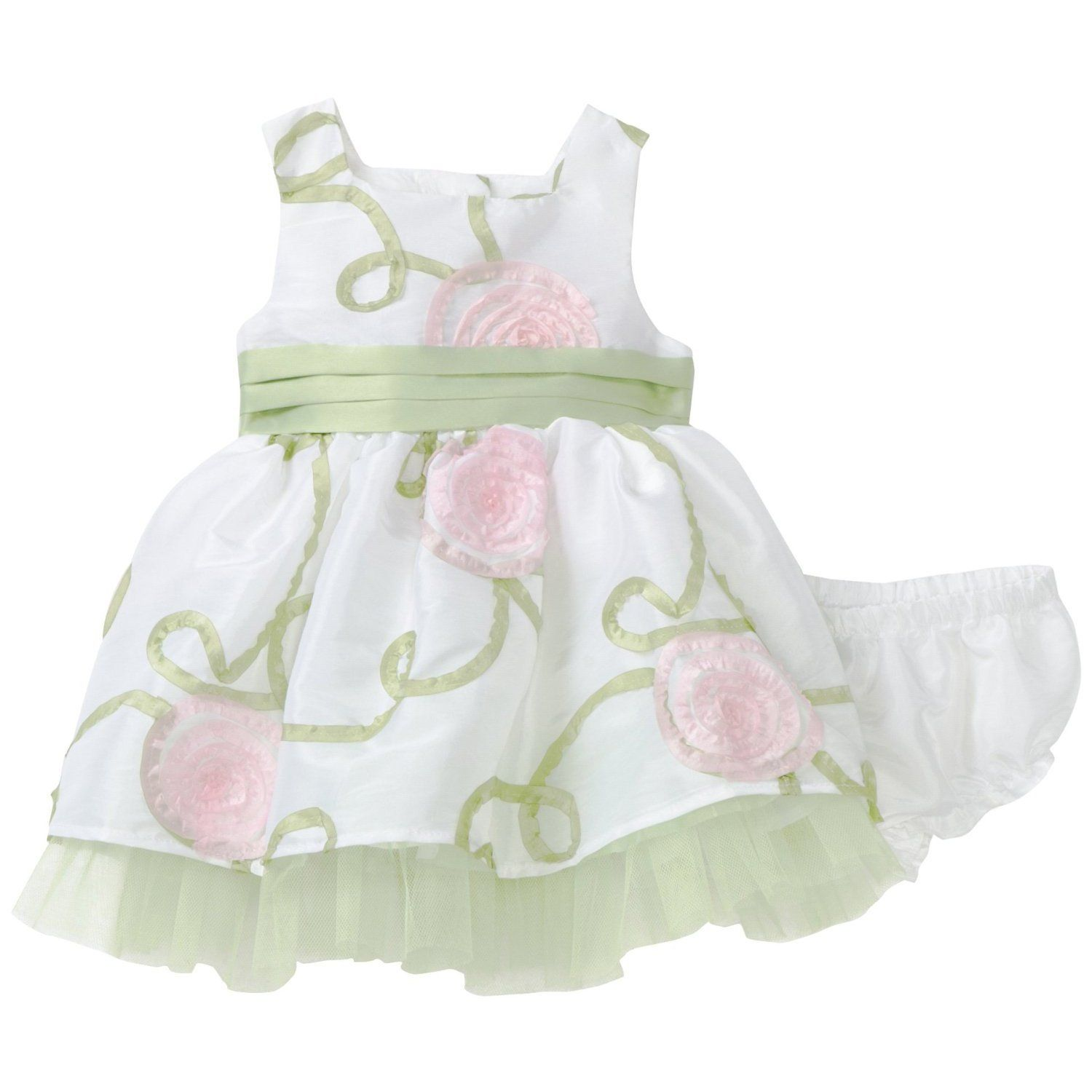 Youngland Baby Girls Sage Floral Bonanza Dress