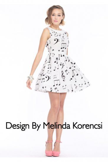 Musical Notes Printed White Dress (Actually Buy)