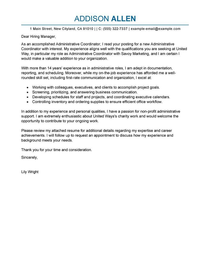 A cover letter example administrative needs to write if you ...