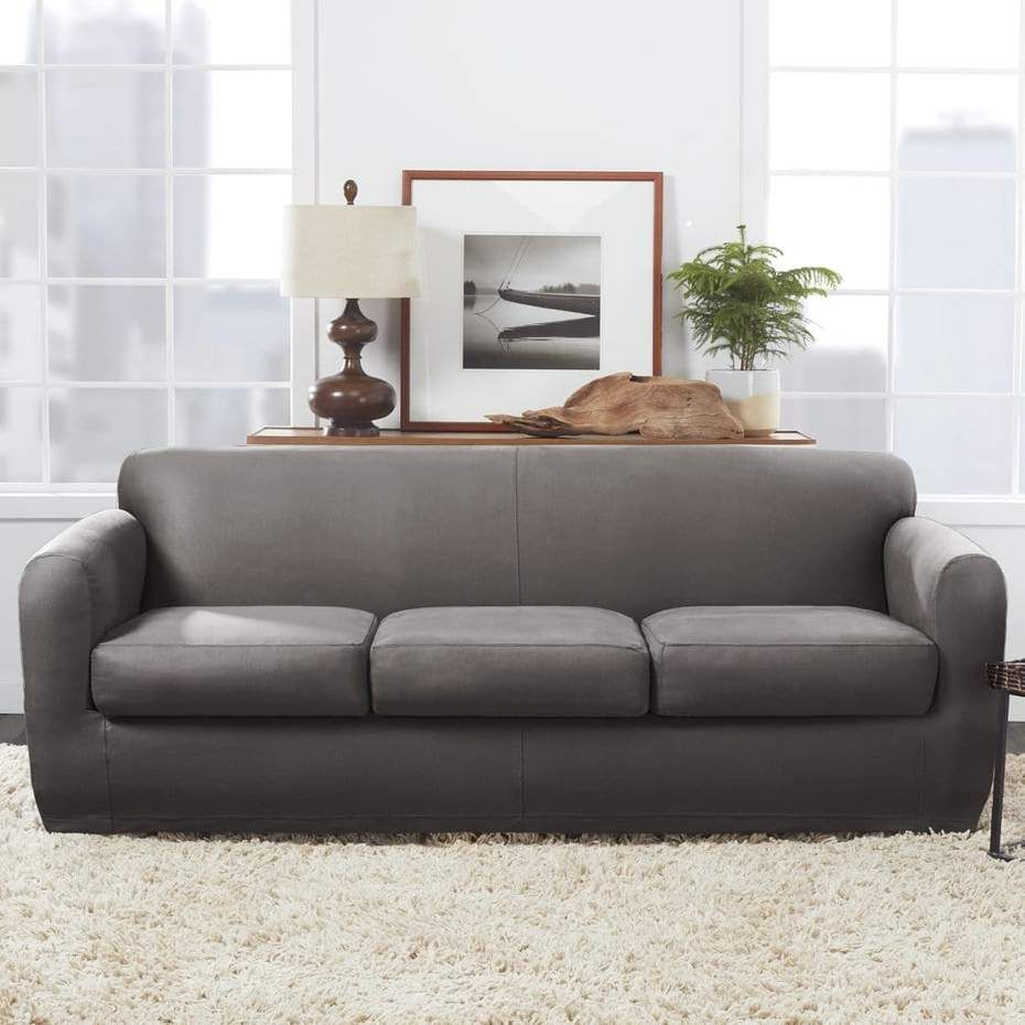 Ultimate Stretch Leather Four Piece Sofa Slipcover Form Fitting Individual Cushion Covers Machine Washable In 2020 Leather Sofa Covers Slipcovered Sofa Slipcovers