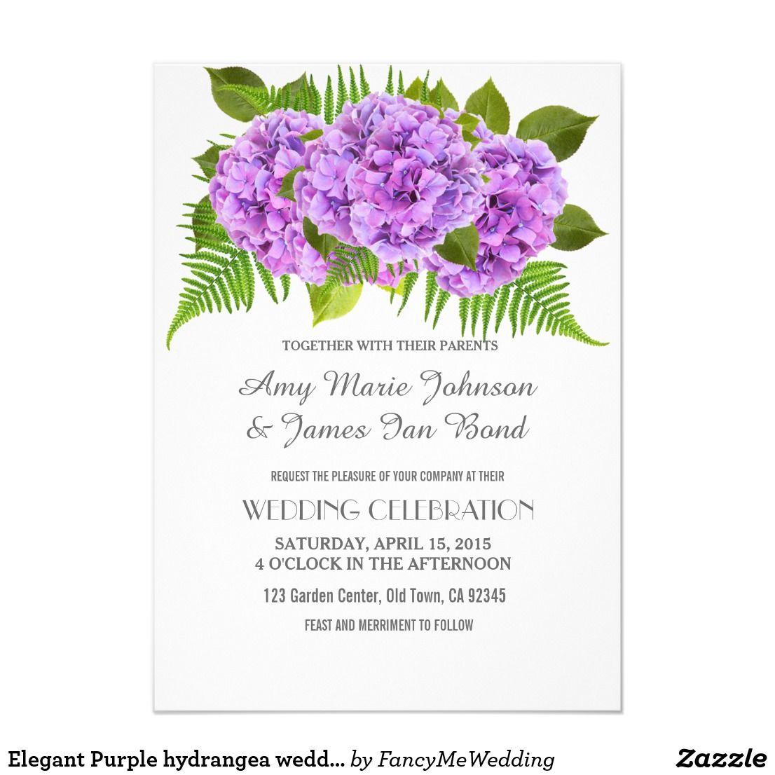 Purple hydrangea wedding invitation sample - Elegant Purple Hydrangea Wedding Invitations