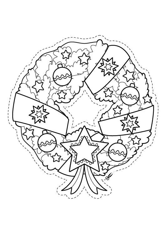 Corona de Navidad para recortar dibujo para colorear e imprimir