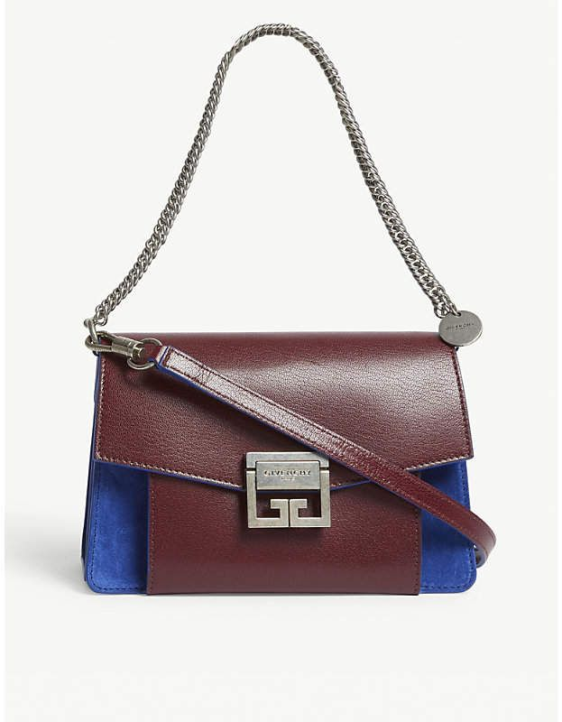 639a426169 Givenchy Ladies Aubergine Purple and Blue Gv3 Leather-Suede Shoulder Bag