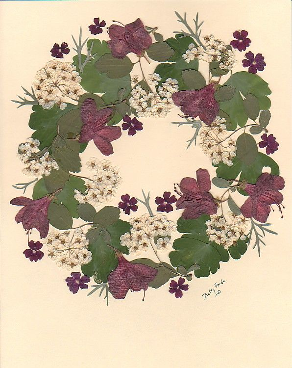 Pressed Flowers Wreath Dried Flowers Pressed Flowers Pressed Flower Crafts