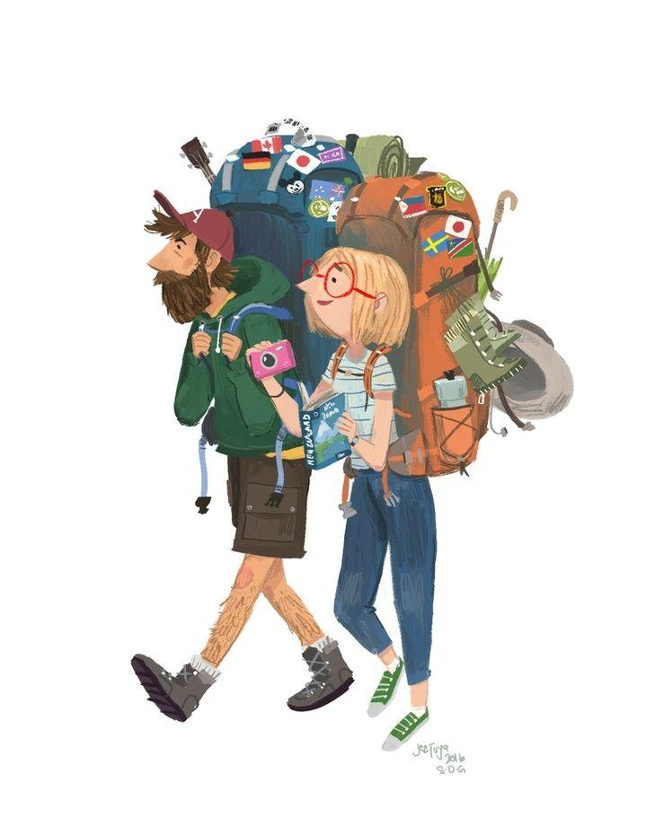 Image result for illustration camper with large backpack