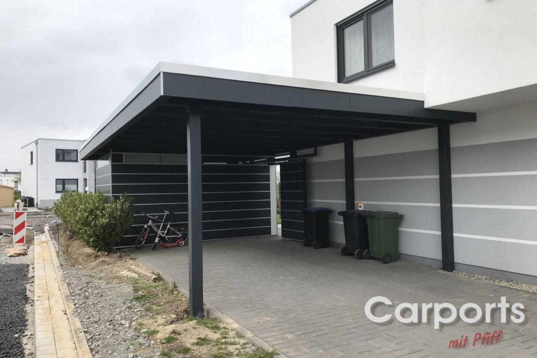Carport Bauhaus Hpl Mit Abstellraum Hausturuberdachung Carport Fassadenplatten