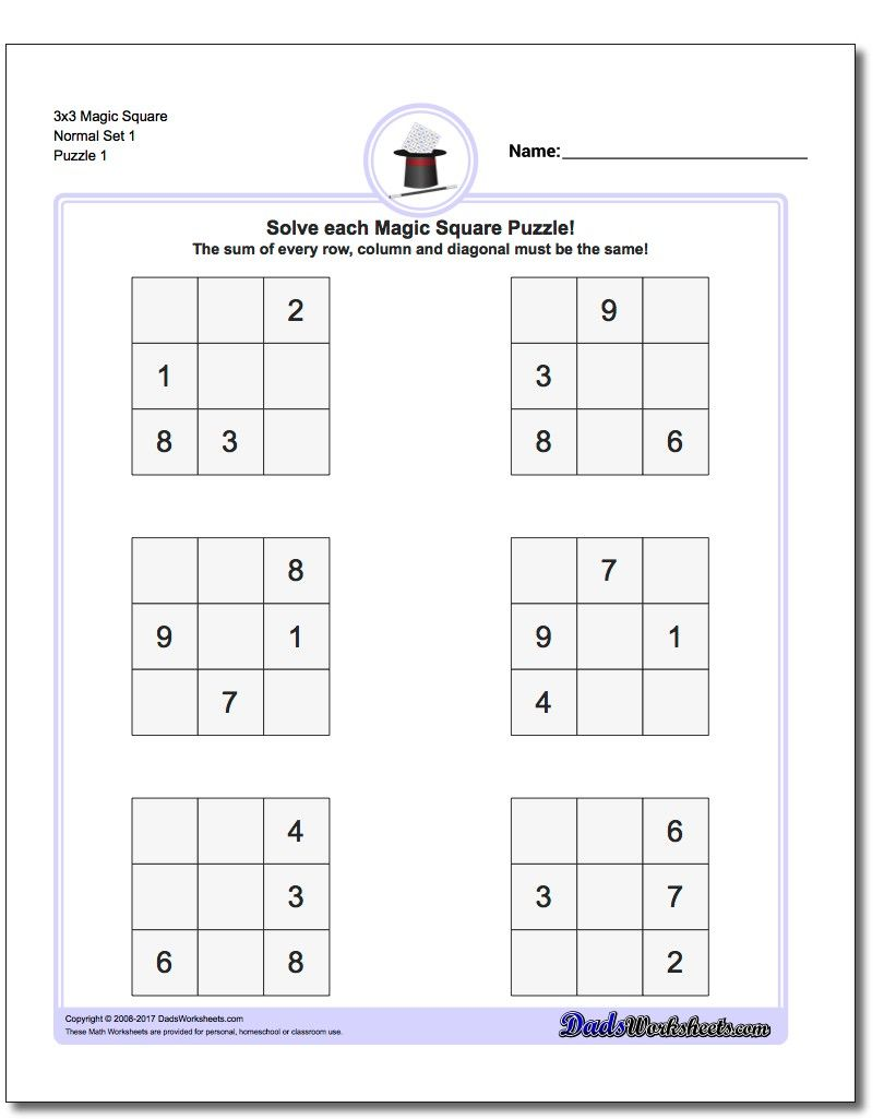 Worksheets Logic Problems Worksheets magic square puzzles squares are one of the simplest forms logic and a great introduction to problem solving