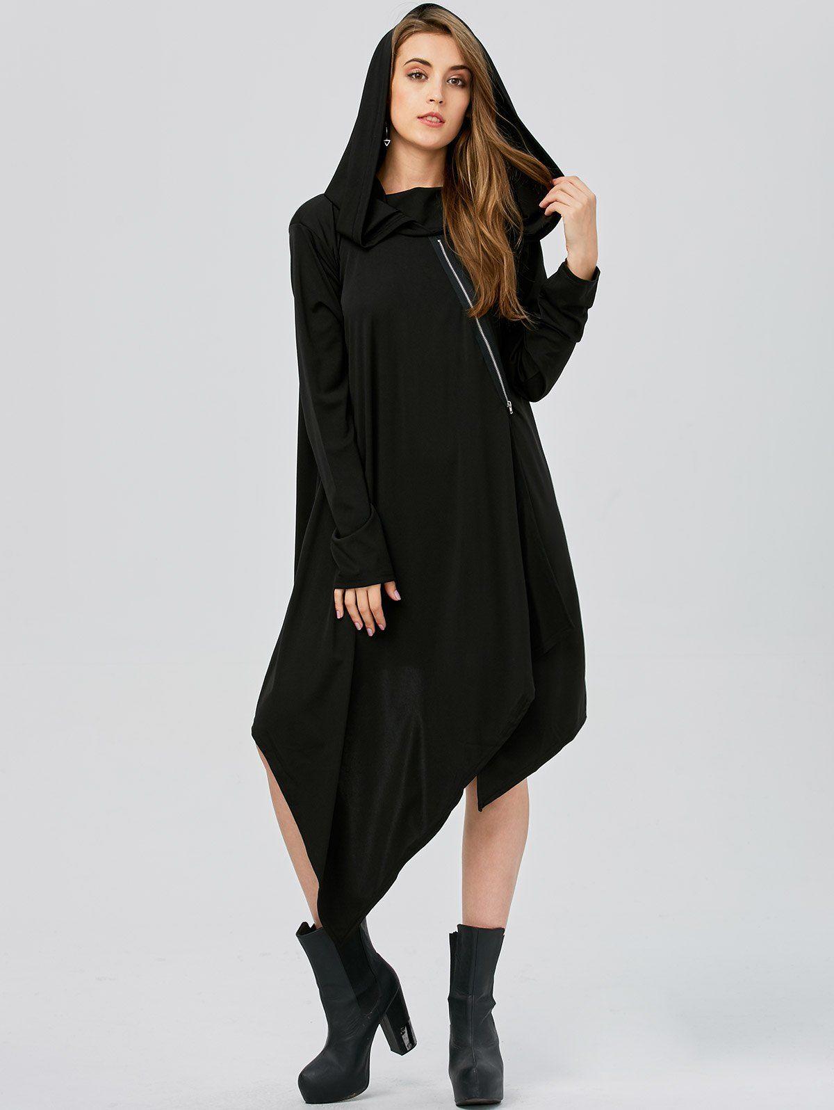 Asymmetric long sleeve tunic hooded dress hooded dress tunics and
