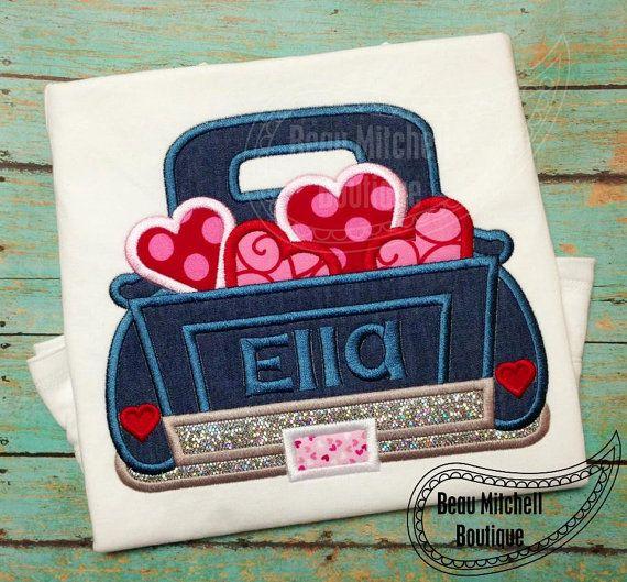 Valentines Truck Applique Embroidery Design Machine Embroidery