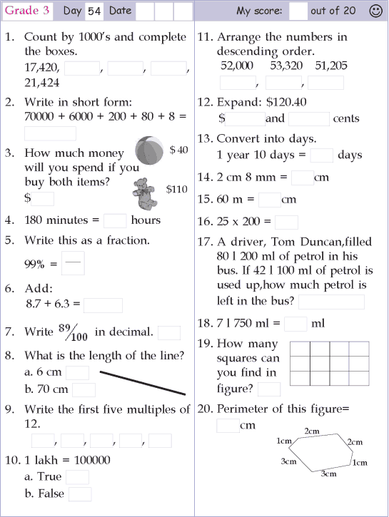 Mental Math Grade 3 Day 54 First Grade Math Worksheets Mental Math Math Pages