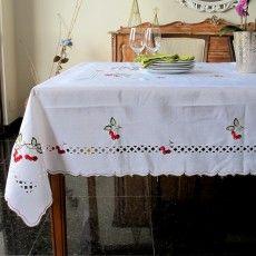 Toalha de mesa bordada, toalha de mesa branca, toalha de mesa pascoa