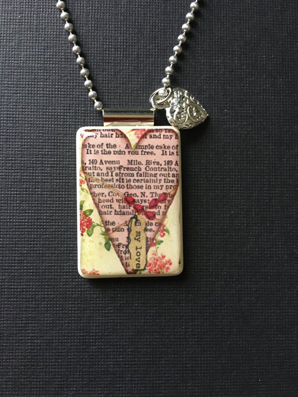 Valentineu0027s Day Jewelry, Handmade Valentine Jewelry, Inspirational Jewelry,  Valentine Pendant, Recycled Mahjong