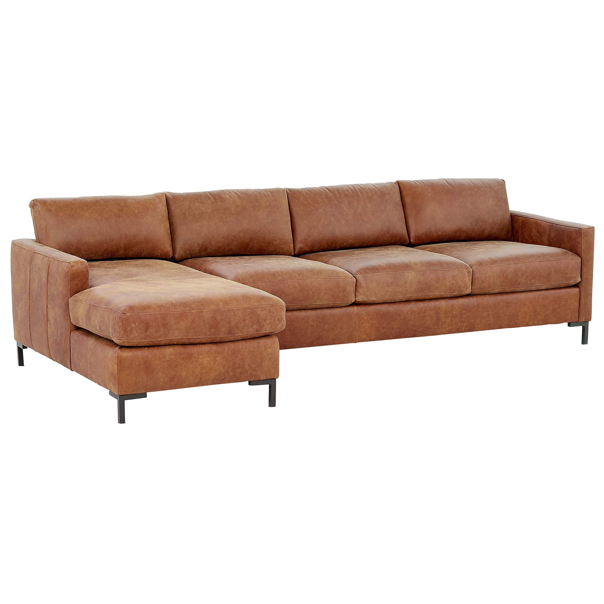 Rivet Edgewest Modern Left Facing Sofa Chaise Sectional Leather 115 W Saddle In 2020 With Images Sectional Sofa Beige Chaise Sofa Upholstered Sofa