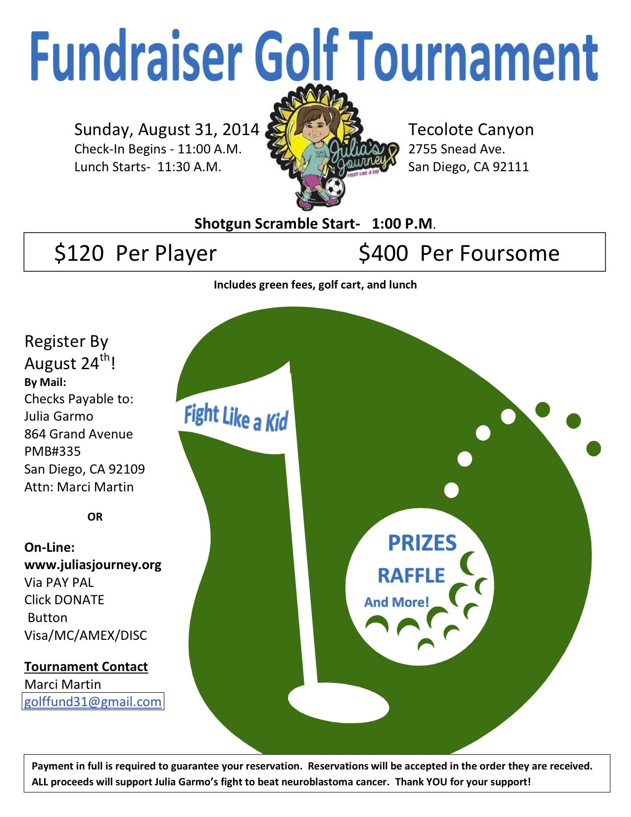 Julia 39 s journey golf tournament flyer golf for Golf tournament budget template