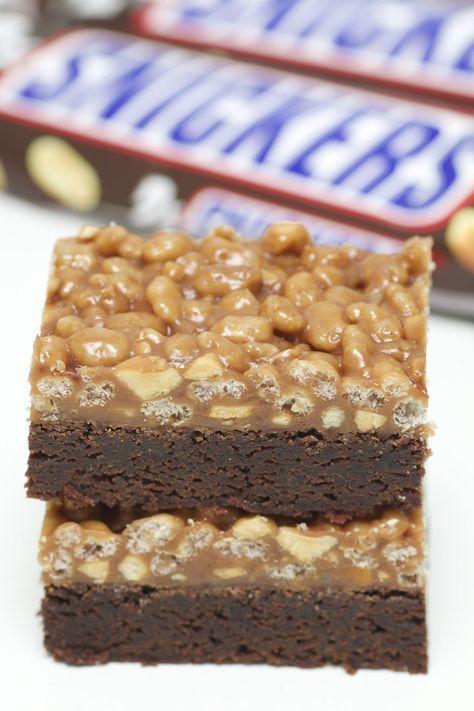 Kladdkaka med Snickers krisp | Bakverk och Fikastunder