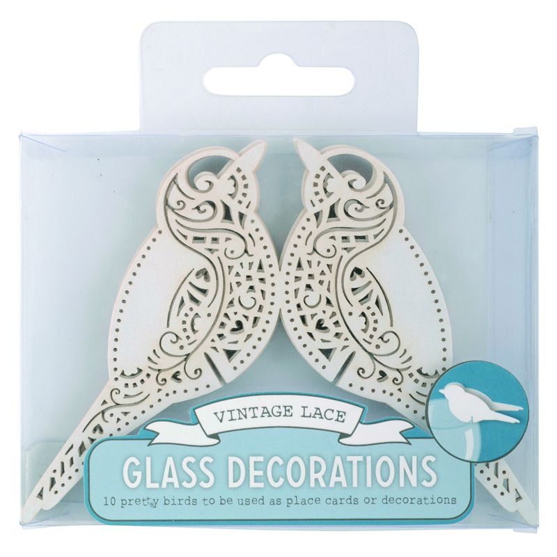 Bird Place Card for Glass White - Vintage Lace - image 2