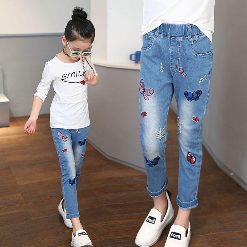 Pantalones Vaqueros Ninos Pantalones Pantalones Ninos Ninas Bordado Mariposa Clasico Nino Leggings Lapiz Nino Pantalones Vaqueros De La Mom Jeans Fashion Jeans