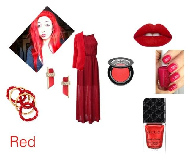"""Red Set"" by therealluckystar on Polyvore featuring Lime Crime, Gucci, Ardency Inn, Essie, NEST Jewelry and Alexis Bittar"