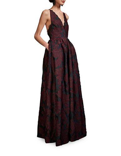 ba65eb0d4236a6 Cynthia Rowley V-Neck Sleeveless Jacquard Gown Women s Black Burgundy