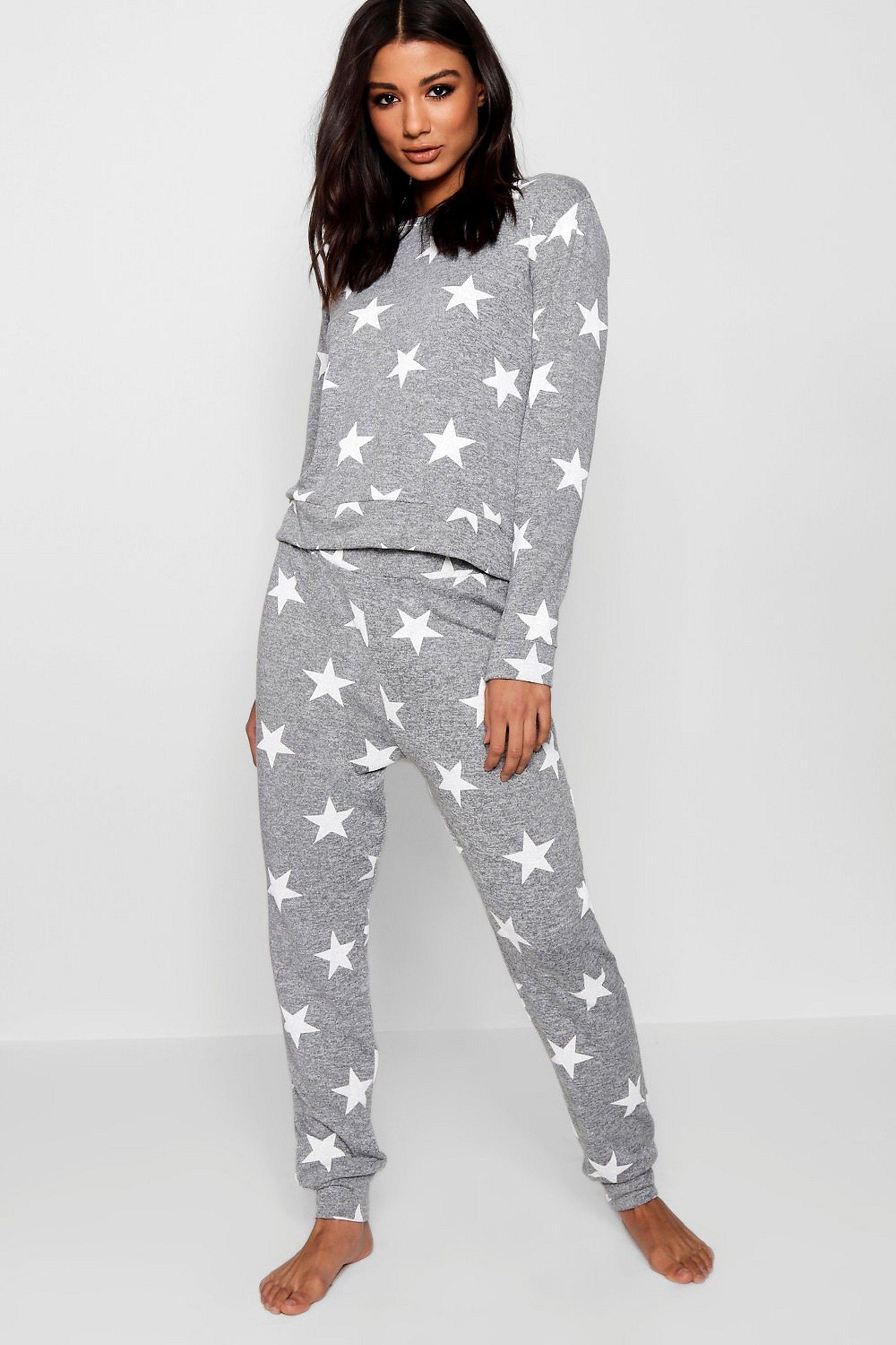 New Ladies Women Tracksuit Star Print Sweatshirt Joggers Pant Lounge-wear Set