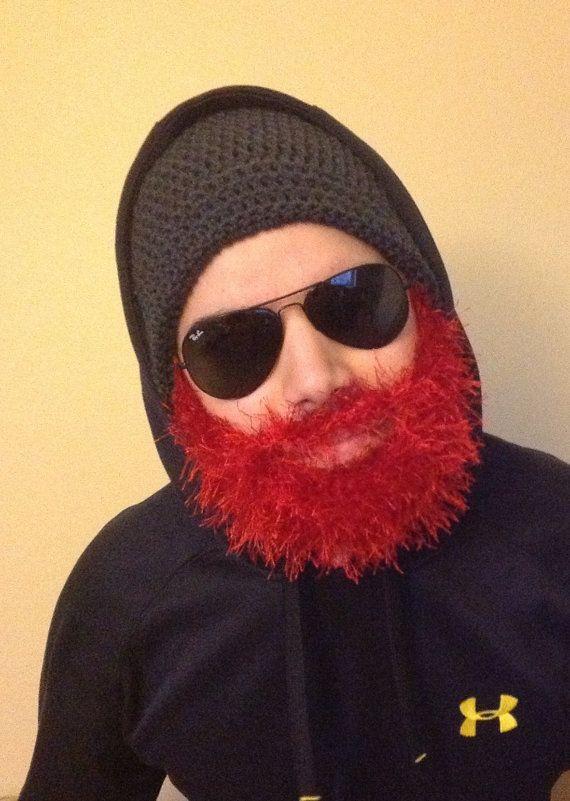 Handmade Crochet Beard hat, beard beanie, Dark gray hat with red ...