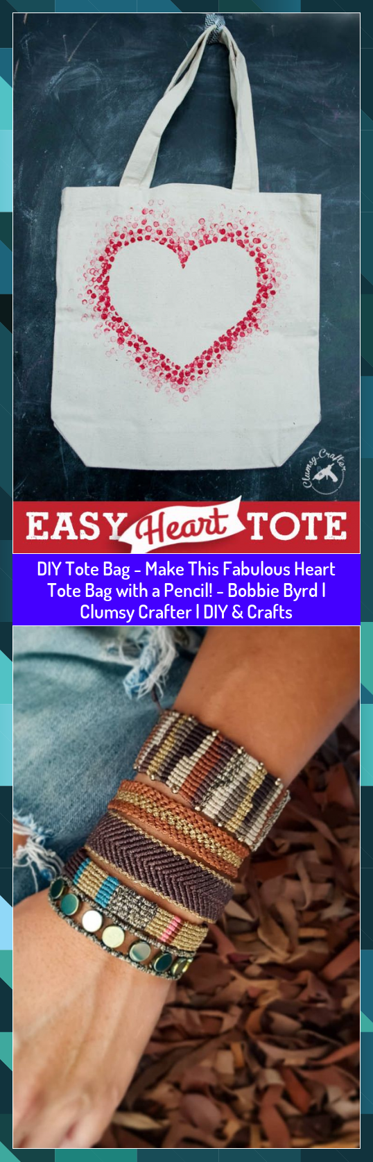 DIY Tote Bag  Make This Fabulous Heart Tote Bag with a Pencil  Bobbie Byrd  Clumsy Crafter  DIY  Crafts