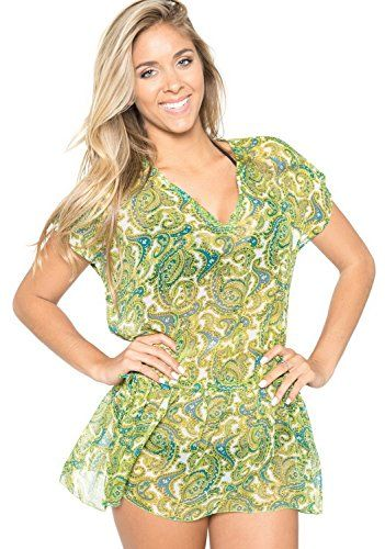 be043d8853 La Leela Sheer Chiffon Allover Printed Beach Kaftan Swim Cover up  Green,Large. Do YOU want COVER UPS in other colors Like Red | Pink | Orange  | Violet ...
