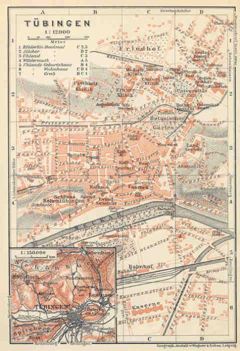 map of tubingen 1914