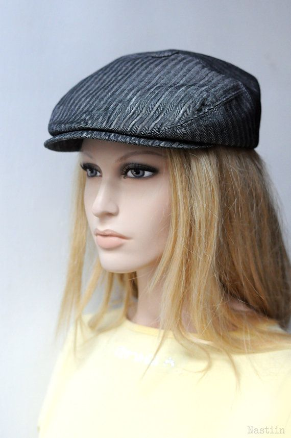 News paper boy hat Black herringbone hat Charcoal hat Mens newsboy ...