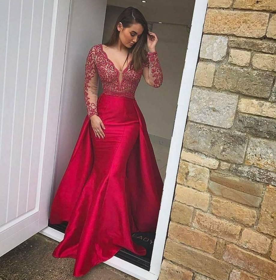 Deep v neck mermaid prom dress with long sleeves in prom