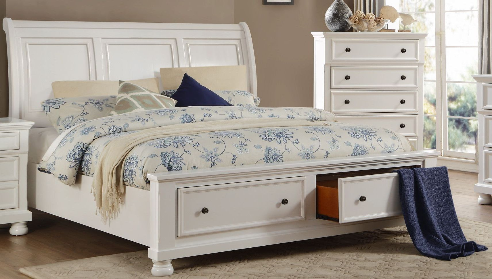 Laurelin White King Sleigh Storage Bed White King Size Bed