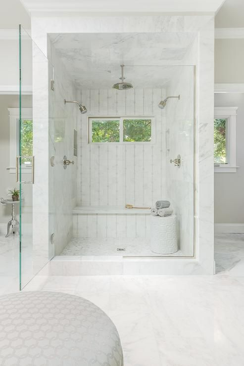 Best Photo Gallery For Website Fabulous master bathroom features a marble shower placed in the center of the room