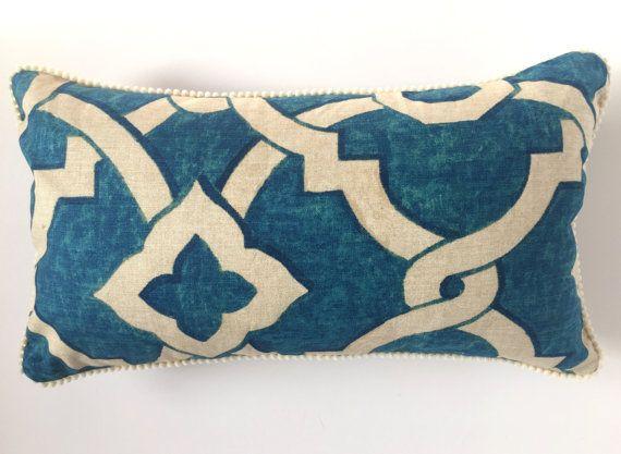 Stunning Blue Aztec Print With Cream Pea Pom Trim 30 X 45 Cm Cushion Cover