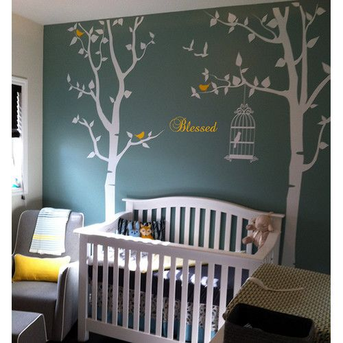 Found it at Wayfair Nursery Trees with Bless Wall Decal
