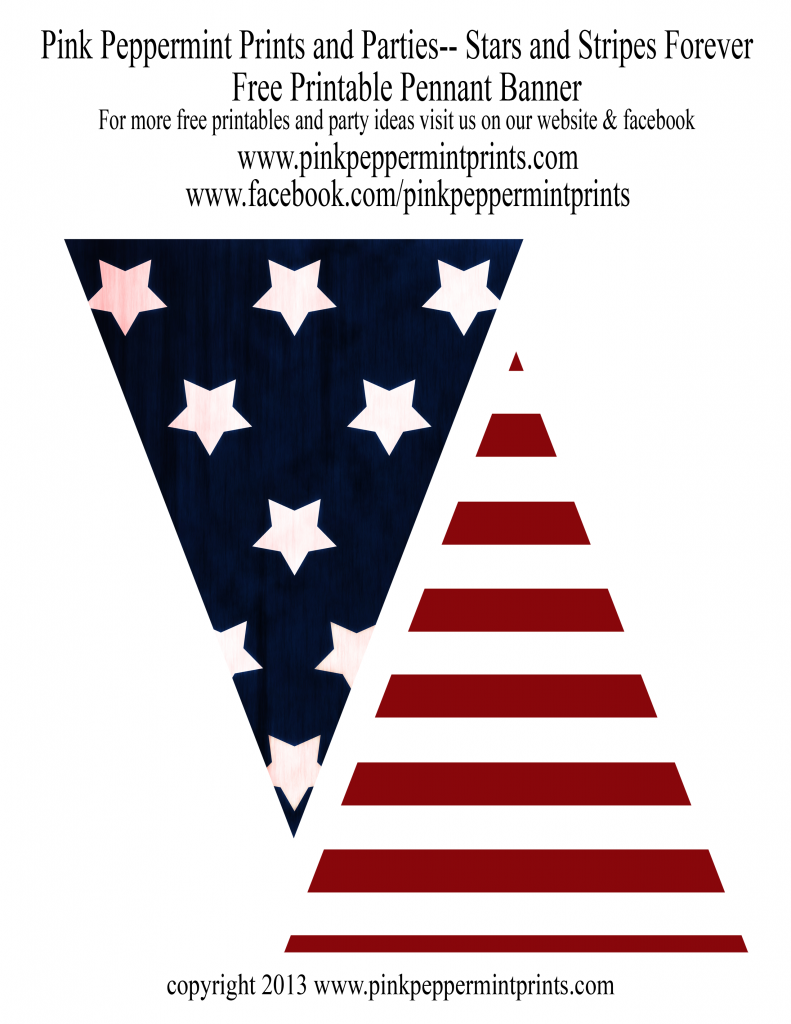 free stars and stripes patriotic printable pennant banner free