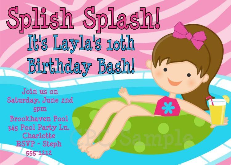 Splish Splash Pool Party Invitations  Printable Or Printed  Pool