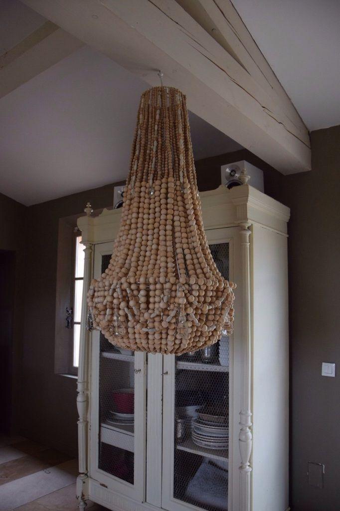 lustre en perles de bois naturelle lumiere pinterest. Black Bedroom Furniture Sets. Home Design Ideas