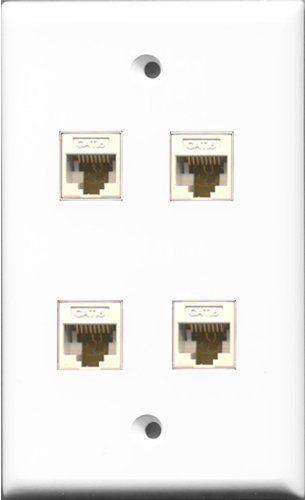 Enjoyable Amazon Com Riteav 4 Port Cat6 Ethernet White Wall Plate Wiring Digital Resources Helishebarightsorg