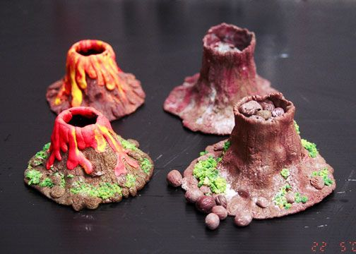 how to make volcanoes out of clay