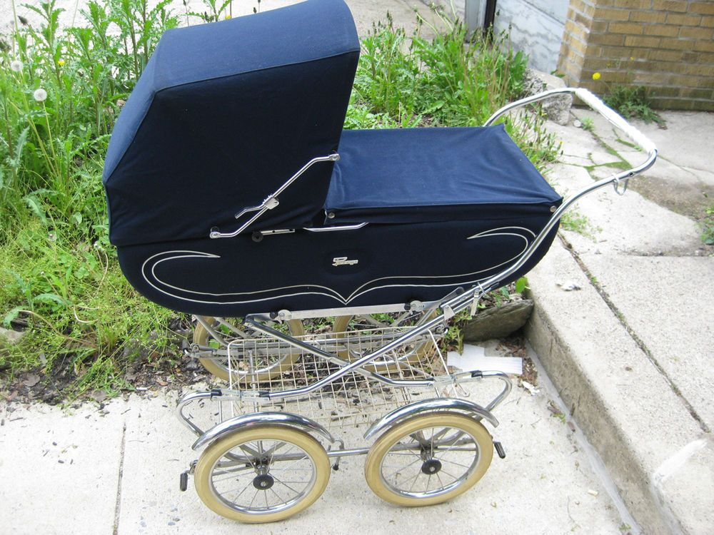 Beautiful Vintage Peg Perego Blue Baby Stroller Pram