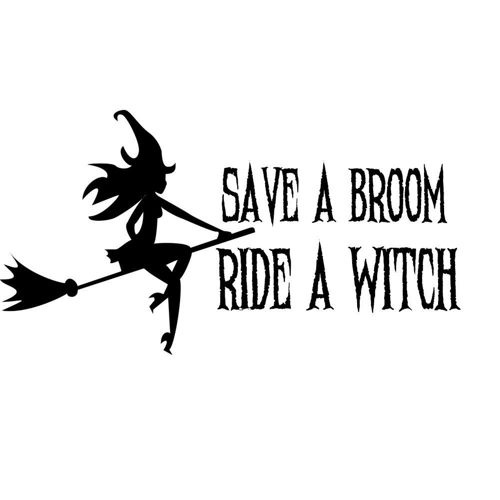 Window Decals Car Sticker WITCH broom wicca air pentacle pentagram bumper fire