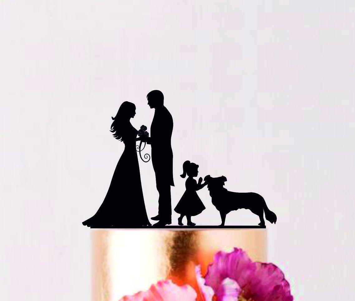 Family cake topper with border collie custom wedding